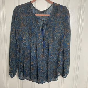 Rose + Olivia Blue Paisley Blouse Size Medium